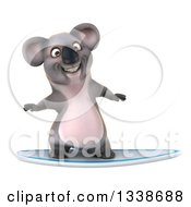 Clipart Of A 3d Koala Surfing 4 Royalty Free Illustration by Julos