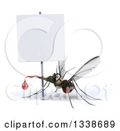 Clipart Of A 3d Bespectacled Mosquito Looking Up Under A Blank Sign Royalty Free Illustration