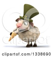 Clipart Of A 3d Irish Sheep Eating A Waffle Ice Cream Cone Royalty Free Illustration
