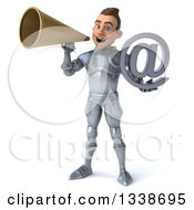Clipart Of A 3d Caucasian Male Armored Knight Holding An Email Arobase At Symbol And Announcing With A Megaphone Royalty Free Illustration