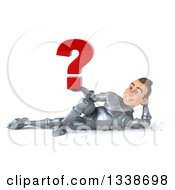 Clipart Of A 3d Caucasian Male Armored Knight Holding A Question Mark And Resting On His Side Royalty Free Illustration