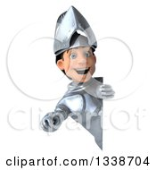 Clipart Of A 3d Caucasian Male Armored Knight Pointing Outwards Around A Sign Royalty Free Illustration