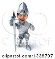 Clipart Of A 3d Caucasian Male Armored Knight Kneeling With A Sword And Pointing Outwards Royalty Free Illustration