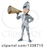 Clipart Of A 3d Caucasian Male Armored Knight Announcing With A Megaphone Royalty Free Illustration
