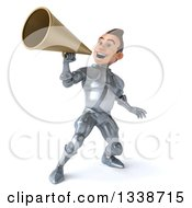 Clipart Of A 3d Caucasian Male Armored Knight Announcing With A Megaphone 2 Royalty Free Illustration