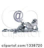Clipart Of A 3d Armored Knight Holding An Email Arobase At Symbol And Resting On His Side Royalty Free Illustration