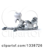 Clipart Of A 3d Armored Knight Holding A Tooth And Resting On His Side Royalty Free Illustration