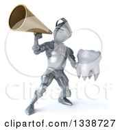 Clipart Of A 3d Armored Knight Holding A Tooth And Using A Megaphone Royalty Free Illustration