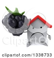 Clipart Of A 3d Unhappy White House Character Holding Up A Blackberry Royalty Free Illustration