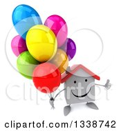Clipart Of A 3d Happy White House Character Holding Up A Thumb And Party Balloons Royalty Free Illustration