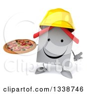 Clipart Of A 3d Happy White House Contractor Character Wearing A Hardhat Holding A Pizza And Shrugging Royalty Free Illustration