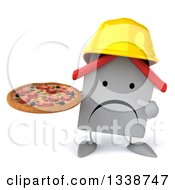 Clipart Of A 3d Unhappy White House Contractor Character Wearing A Hardhat Holding And Pointing To A Pizza Royalty Free Illustration