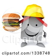 Clipart Of A 3d Happy White House Contractor Character Wearing A Hardhat Holding A Double Cheeseburger Royalty Free Illustration