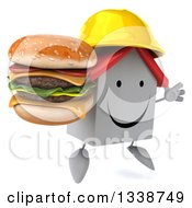 Clipart Of A 3d Happy White House Contractor Character Wearing A Hardhat Facing Slightly Right Jumping And Holding A Double Cheeseburger Royalty Free Illustration