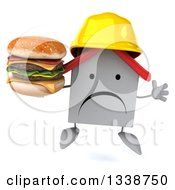 Clipart Of A 3d Umhappy White House Contractor Character Wearing A Hardhat Holding A Double Cheeseburger And Jumping Royalty Free Illustration