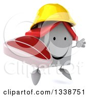 Clipart Of A 3d Happy White House Contractor Character Wearing A Hardhat Facing Slightly Right Jumping And Holding A Beef Steak Royalty Free Illustration