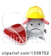 Clipart Of A 3d Unhappy White House Contractor Character Wearing A Hardhat Holding Up A Beef Steak Royalty Free Illustration