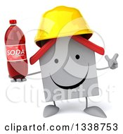 Clipart Of A 3d Happy White House Contractor Character Wearing A Hardhat Holding Up A Finger And A Soda Bottle Royalty Free Illustration