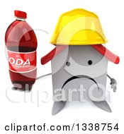 Clipart Of A 3d Unhappy White House Contractor Character Wearing A Hardhat Holding Up A Soda Bottle Royalty Free Illustration