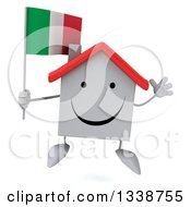 Clipart Of A 3d Happy White House Character Holding An Italian Flag And Jumping Royalty Free Illustration