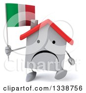 Clipart Of A 3d Unhappy White House Character Holding An Italian Flag And Walking Royalty Free Illustration