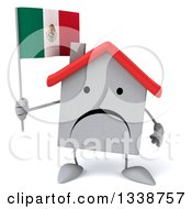 Clipart Of A 3d Unhappy White House Character Holding A Mexican Flag Royalty Free Illustration