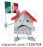Clipart Of A 3d Unhappy White House Character Holding And Pointing To A Mexican Flag Royalty Free Illustration