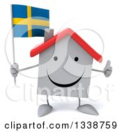 Clipart Of A 3d Happy White House Character Holding A Swedish Flag And Giving A Thumb Up Royalty Free Illustration
