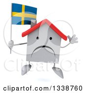 Clipart Of A 3d Unhappy White House Character Holding A Swedish Flag And Jumping Royalty Free Illustration