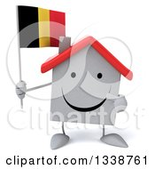 Clipart Of A 3d Happy White House Character Holding And Pointing To A Belgian Flag Royalty Free Illustration