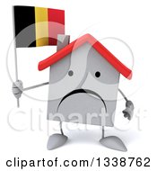Clipart Of A 3d Unhappy White House Character Holding A Belgian Flag Royalty Free Illustration