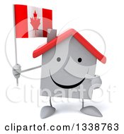 Clipart Of A 3d Happy White House Character Holding And Pointing To A Canadian Flag Royalty Free Illustration