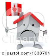 Clipart Of A 3d Unhappy White House Character Holding A Canadian Flag And Giving A Thumb Down Royalty Free Illustration