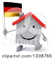 Clipart Of A 3d Happy White House Character Holding A German Flag And Walking Royalty Free Illustration