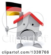 Clipart Of A 3d Unhappy White House Character Holding And Pointing To A German Flag Royalty Free Illustration