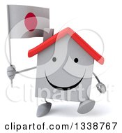 Clipart Of A 3d Happy White House Character Holding A Japanese Flag And Walking Royalty Free Illustration