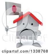 Clipart Of A 3d Unhappy White House Character Holding And Pointing To A Japanese Flag Royalty Free Illustration