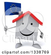 Clipart Of A 3d Happy White House Character Holding A European Flag Royalty Free Illustration
