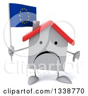 Clipart Of A 3d Unhappy White House Character Holding A European Flag And Giving A Thumb Down Royalty Free Illustration