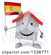 Clipart Of A 3d Happy White House Character Holding A Spanish Flag Royalty Free Illustration