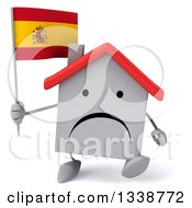 Clipart Of A 3d Unhappy White House Character Holding A Spanish Flag And Walking Royalty Free Illustration