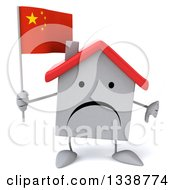 Clipart Of A 3d Unhappy White House Character Holding A Chinese Flag And Giving A Thumb Down Royalty Free Illustration