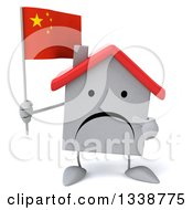 Clipart Of A 3d Unhappy White House Character Holding And Pointing To A Chinese Flag Royalty Free Illustration