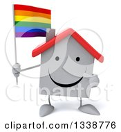 Clipart Of A 3d Happy White House Character Holding And Pointing To A Rainbow Flag Royalty Free Illustration