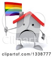 Clipart Of A 3d Unhappy White House Character Holding A Rainbow Flag Royalty Free Illustration