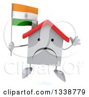 Clipart Of A 3d Unhappy White House Character Holding An Indian Flag And Jumping Royalty Free Illustration