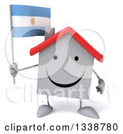 Clipart Of A 3d Happy White House Character Holding An Argentine Flag Royalty Free Illustration