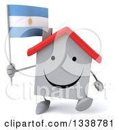 Clipart Of A 3d Happy White House Character Holding An Argentine Flag And Walking Royalty Free Illustration