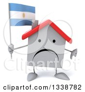 Clipart Of A 3d Unhappy White House Character Holding An Argentine Flag And Giving A Thumb Down Royalty Free Illustration