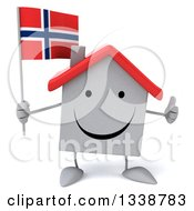 Clipart Of A 3d Happy White House Character Holding A Norwegian Flag And Giving A Thumb Up Royalty Free Illustration
